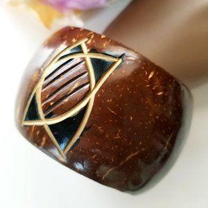 Hand Carved Wood Nut Bangle Bracelet